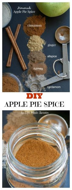Homemade Apple Pie Spice Mix Homemade Apple Pie Spice - make your ave own DIY custom blend & you can save money and a trip to the store for make plenty of pies all season long! Homemade Apple Pies, Homemade Spices, Homemade Seasonings, Homemade Spice Blends, Homemade Salsa, Homemade Recipe, Do It Yourself Food, Apple Pie Spice, Seasoning Mixes