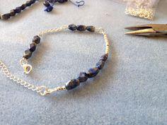 Work in progress, Lapis Lazuli and silver bracelet