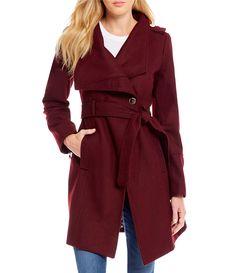 Guess Asymmetrical Envelope Collar Wool Belted Wrap Coat #Dillards