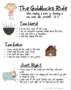 """Far cuter poster than I have always used...Goldilocks rule to finding """"just right"""" books...use with Goldisocks and the Three Libearians or We're Going On a Book Hunt."""
