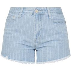 Light Wash Pinstripe Denim Short ($8) ❤ liked on Polyvore featuring shorts, jean shorts, short denim shorts, denim shorts, pinstripe shorts and light wash shorts