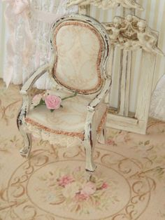 Dollhouse Aubusson French medallion armchair, Shabby pale blue late XVIIIth, Louis XVI - Furniture for a dollhouse in 1:12th scale
