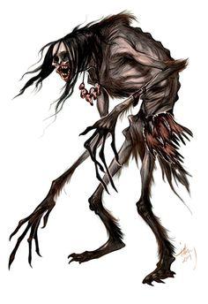 Monster of the Day: Wendigo by tiffanyturrill Cartoon Monsters, Cool Monsters, Dnd Monsters, Fantasy Monster, Monster Art, Arte Horror, Horror Art, Horror Comics, Tatoo