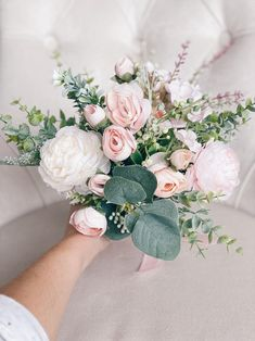Peony Bridesmaid Bouquet, Pink Flower Bouquet, Blush Pink Bridesmaids, Bridal Bouquet Pink, Blush Wedding Flowers, Bridal Flowers, Flower Bouquet Wedding, Country Wedding Bouquets, White Peonies Bouquet