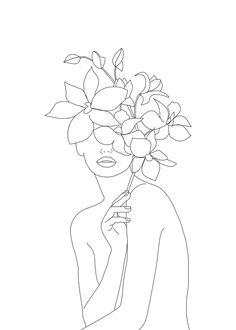 Minimal Line Art Woman With Orchids Graphic Hoodie by Nadja - Unisex Pullover White - LARGE - Front Print - Pullover Outline Art, Line Drawing, Female Art, Framed Art Prints, Illustration, Orchids, Minimalism, Art Drawings, Canvas Art