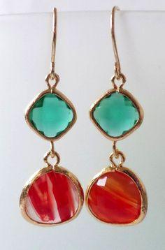Emerald and Cayenne Orange Crystal Earrings