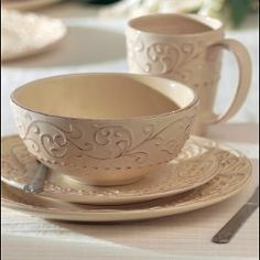 @Overstock - This elegant Bianca Cream dinnerware features service for four in an earthenware set of 16 pieces. With plates, bowls, and mugs, this casual china American Atelier set is microwave safe and dishwasher safe.http://www.overstock.com/Home-Garden/American-Atelier-Bianca-Cream-16-piece-Dinnerware-Set/5408602/product.html?CID=214117 $59.99