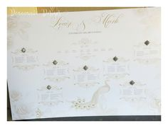Gold peacock themed seating plan  Deannamic Designs Seating Plans, Gold Invitations, Peacock, How To Plan, Beautiful, Design, Gold Save The Dates, Peacock Bird, Peacocks