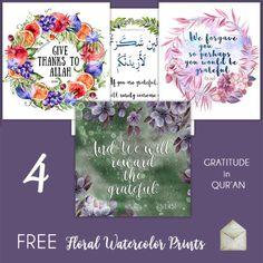FREEBIE bundle - free islamic floral watercolor prints by ayeina.com