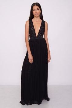 Image for Black Mesh Plunge Maxi Dress rarelondon.com