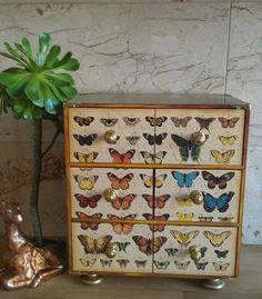Handmade vintage butterfly style decoupage wooden painted mini chest of drawers jewellery storage keepsake small treasure chest trinket box