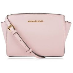 Michael Michael Kors Selma Messenger Bag ($290) ❤ liked on Polyvore featuring bags, messenger bags, blossom, pink bag, courier bags, michael michael kors, leather bags and flower bag