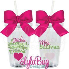 Teacher Touches a Heart Tumbler: LylaBug Designs Teacher Appreciation Gift Teacher Holiday Gift