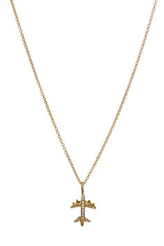 Bea Milen necklace with micro pave airplane. www.beamillen.com