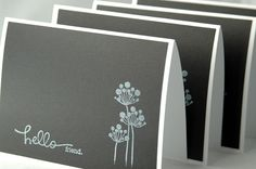 Handmade black and white note cards Hello friend by ecoPaperie. so cute... make them smaller with my BG stamps