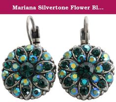 Mariana Silvertone Flower Blossom Crystal Earrings, Green AB 1029 205. About Mariana Jewelry: Mariana believes what music is to the ear, color is to the eye. Her exquisite creations make the woman who wears them glow with confidence and love for life. Since 1997, her exuberant sense of color and unexpected fusion of old and new, crystal and stone, material and spirit, have been the very heart and soul of her creative vision. Mariana jewelry is made with components as varied as the moods…