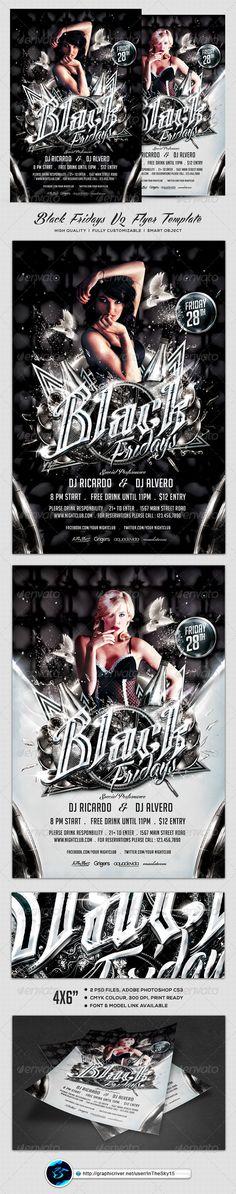Black Fridays V2 Flyer Template #techno #nightclub  • Download here → https://graphicriver.net/item/black-fridays-v2-flyer-template/8190248?ref=pxcr