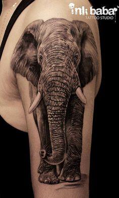 Pin by ink baba tattoo studio on incredible tattoo designs татуировки с жив Oma Tattoos, Cute Tattoos, Body Art Tattoos, Sleeve Tattoos, Tattoos For Guys, Realistic Elephant Tattoo, Tattoos Realistic, Elephant Tattoo Design, Incredible Tattoos