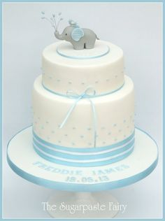 A Christening cake – the inspiration of which came from Sarah at Style me Gorgeous in Sydney. I loved her baby elephant design, and she let me use it with a little alteration (water spray instead of balloon). Elephant Baby Shower Cake, Elephant Cakes, Baby Shower Cakes For Boys, Baby Boy Cakes, Baby Boy Shower, Torta Baby Shower, Baby Boy Christening Cake, Baby Boy Christening Decorations, Shower Bebe