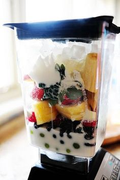 The Pioneer Woman's Breakfast Smoothies: any fruit you like, greek yogurt, a little skim milk, honey, carnation instant breakfast french vanilla powder by Ree Drummond / This sounds great!  Can't wait to try it!