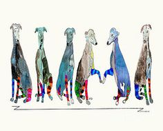 The Greyhounds by Bri Buckley - lots of greyhound art on this page