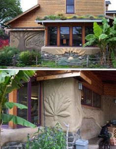 Earthen Architecture!    People's Co-op, Portland, Oregon    One of the advantages of cob is the malleability of the mud as it's drying on the exterior and interior walls – it can be sculpted into beautiful relief designs, as seen here at the People's Co-Op of Portland, Oregon. Cob was used as infill for two walls of the building as well as for the benches inside and outside the store.