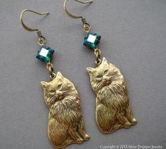 Cat Earrings - Cat Jewelry - Kitty Earrings - Cat Lover Gifts - Gift for Cat Lover - Antique Style Jewelry - Vintage Style Cat Earrings