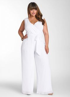 Pleated Pant Jumpsuit   by Ashley Stewart   $49.50  Style: LWD339HC  Fashion forward! Plus size jumpsuit features a surplice top at front and back, self-tie at waist, and sheer, pleated detail bottom. Hidden zipper at left side. Fully lined.  Hand wash cold  Made in Philippines  30 inch inseam  100% polyester