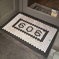 house number 606 hex floor tile black white   ENTRY   Pinterest ...