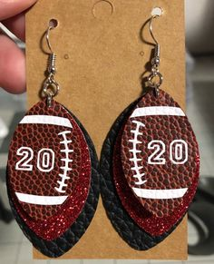 Made To Order Custom Color Faux Leather Football Number Earrings - Soccer Photos Diy Leather Earrings, Diy Earrings, Leather Jewelry, Earrings Handmade, Leather Fabric, Cow Leather, Football Moms, Football Gear, Football Spirit