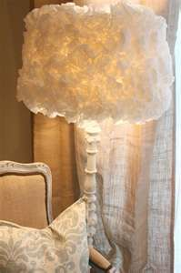 Coffee Filter Lamp Shade - stumbled upon this, made two a year ago.  They remind me of my wedding dress so I placed wedding pictures next to it.  Very cute!