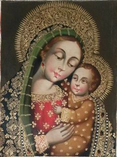 """12"""" X 16"""" Oil Painting Madonna Virgin Mary with Child Jesus Peru Cuzco Religious #CuzcoSchool"""
