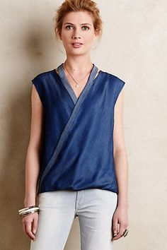 Wrapped Denim Top #anthropologie