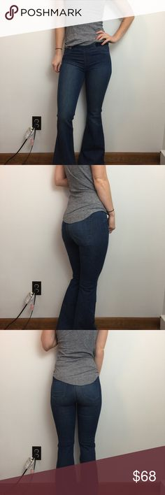 Blank NYC Blue Denim Elastic Waist Flare Jeans Blank NYC Jeans so cute flares and are a size 26, Blank NYC Jeans