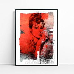 Audrey Hepburn - Collage, art, giclee, Hollywood, actress,  interior design, illustration, vintage, print, home decor, poster, elegant-