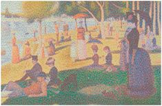 Chris Jordan's recreation of Seurat's masterpiece, A Sunday Afternoon on the Island of Grand Jatte, done with 106,000 aluminum cans.
