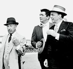 Dean Martin, Frank Sinatra and Mike Romanoff at Heathrow Airport, 1961.