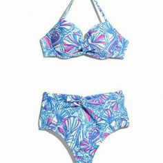 DISO My Fans bikini Top size M (could fit a large but I'm flat) Bottoms size L (I wear an 8 so if you think a M will work...) I will literally love whoever sells me one forever I want this so bad Lilly Pulitzer for Target Swim Bikinis