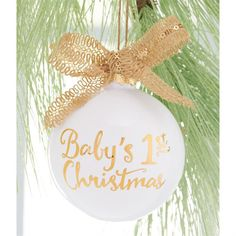 "Ceramic ornament features gold""Baby's 1st Christmas"" sentiment and burlap ribbon with gold sequin detail."