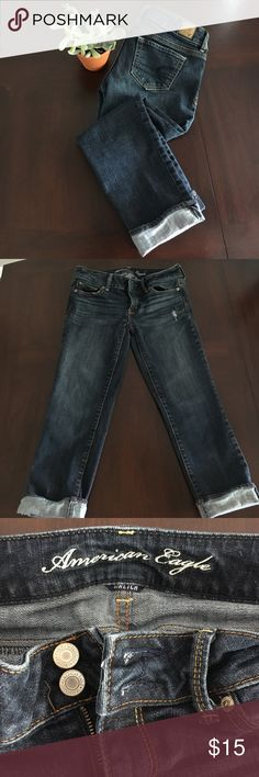 AE Artist Stretch Capris Dark Wash Denim American Eagle Jean capris. Stretchy and comfy. These are in perfect condition. I  have never worn them because they are too small. The tag says size 4 but even with the stretch these are too small. I listed them as a 2 but if anyone out there who is a size 4 has questions about measurements just ask! Offers welcome or bundle and save!! American Eagle Outfitters Jeans Ankle & Cropped