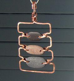Rustic Copper And Stone Pendant