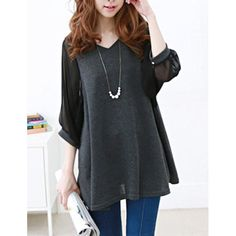 Chiffon Splicing 3/4 Sleeve V-Neck See-Through Design T-Shirt. Well maybe we can do without the  See-Through part!!