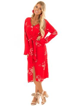 Lipstick Red Floral Button Up Tie Waist Midi Dress Floral Button Up, Cute Boutiques, Fabulous Dresses, Red Lipsticks, Boutique Dresses, Wrap Dress, Fashion Dresses, Fancy, My Style