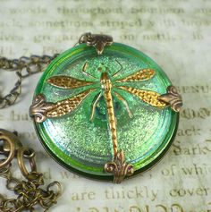 Dragonfly Necklace Sea Green Czech Glass Button by milminedesign on etsy.