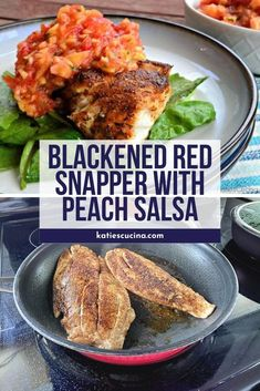 Looking for a fast and flavorful fresh fish dinner? Combine fresh homemade peach salsa with a quick cooking pan-seared Blackened Red Snapper for the ultimate weekday dinner made in just 10 minutes time. Peach Salsa, Red Snapper, Fish Dinner, Fish Recipes, Easy Meals, Fresh, Cooking, Homemade Food, Seafood