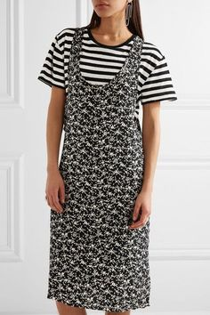 R13 - Tank Overlay Printed Silk And Cotton Dress - Black -