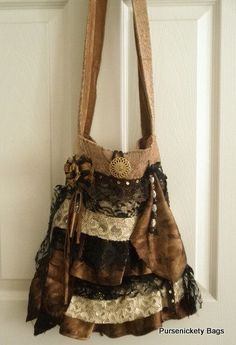 Large Bohemian Gypsy Bag, soft thick ruffled lace and embellishments