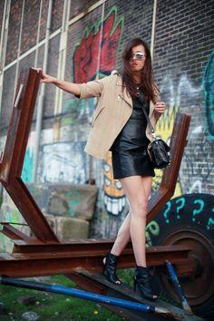 faux leather dress + camel jacket + alexander wang booties  via style scrapbook