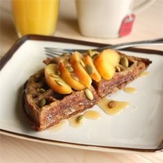 Delicious homemade waffles with lightly poached apples and honey