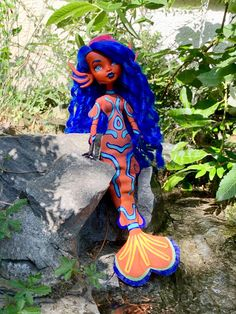 This is my mandarin dragonet inspired mermaid doll I did for the Tropical Doll collaboration by Dollightfull! Mermaid Dolls, Doll Repaint, Ooak Dolls, Collaboration, Tropical, Inspired, Inspiration, Biblical Inspiration, Motivation